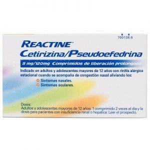 Reactine Cetirizina/Pseudoefedrina en Comprimidos Lib Prolongada